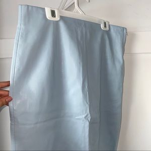 Zara: Light Blue Faux Leather Pencil Skirt
